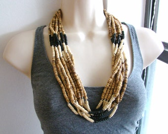 Vintage long black white and brown bohemian multistrand beaded necklace