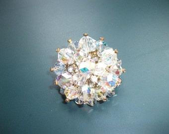 Vintage AB Aurora Borealis Crystals With Rondelle Rhinestone Cluster Brooch Pin