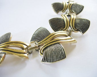 Aluminum Bracelet Goldtone Eloxal Futuristic Abstract Bird Butterfly 1940's Germany