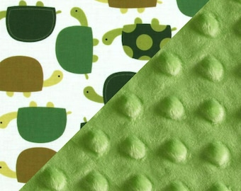 Personalized Baby Blanket Boy - Turtle Blanket -  Minky Baby Blanket Boy, Green Cotton