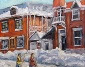 Faubourg à m'lasse Montreal - Joys of Winter by Prankearts - mini Original Oil Painting