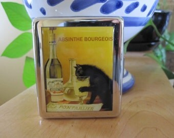 Absinthe Black Cat 8 Day Pill Box with Mirror