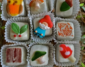 Petite fours-woodland petite fours-woodland candies-forest theme-rustic theme-stocking stuffers