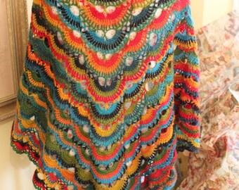 Beauty of Rainbow Colours Hand Crochet Wool Prayer Shawl, Healing Shawl,Wrap Leaf Scarf Purple Yellow Blue Green Flower