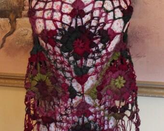 Brand New Glorious Multicolour Crochet Lace Shawl Wrap Bridal Shawl Winter Scarf Triangle, women accessories