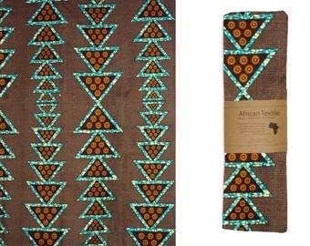 Aqua Triangles Sarong or Multi-Use Textile / FREE SHIPPING / Fair Trade Made in Malawi from African Print Cotton Textile ATX-017