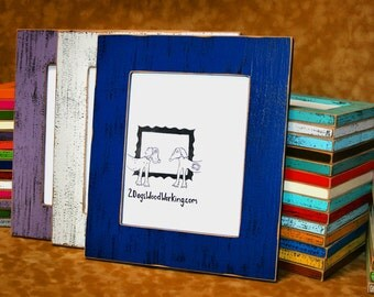 """11x17 Picture Frame, colorful frame, weathered frame, Shabby Frame, rustic Distressed frame, Colored Barn wood, Chunky pick color 2.5"""" wide"""