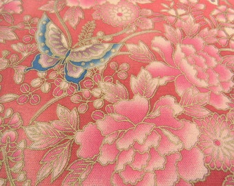 2517A - Large Flower and Butterfly with Gold Print Fabric in Brink Pink, Flower Fabric, Peony Flower