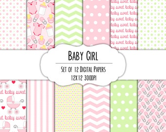 Baby Girl Digital Scrapbook Paper 12x12 Pack - Set of 12 - Diaper Pin, Baby Carriage, Onesie - Instant Download #8020