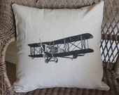 Vintage Airplane  Linen Pillow Cover - Decorative Pillow Cover