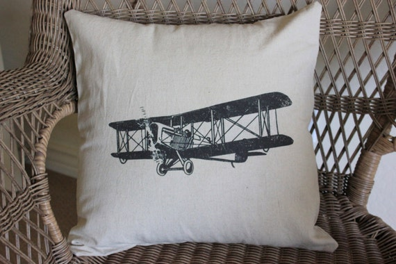 Decorative Airplane Pillow : Vintage Airplane Linen Pillow Cover by TheStitchinChicken