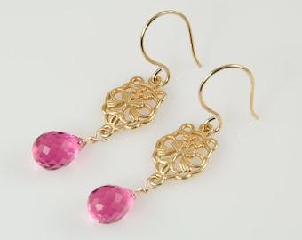 Hot pink quartz earrings, gold filigree earrings, fuschia earrings, pink gemstone jewelry, briolette earrings, gift for her, bridesmaid gift