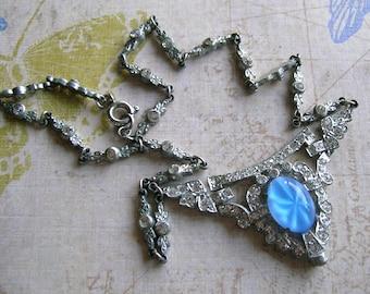 Vintage Art Deco Rhinestone Necklace, 1930's Rhinestone Necklace