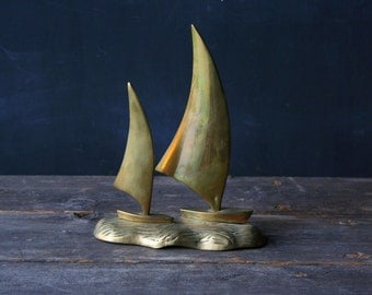 Vintage Brass Two Ships Sculpture From Nowvintage on Etsy