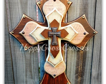 Wall Cross - Wood Cross - Medium - Dark Stain with Religious wording and Antiqued Beige