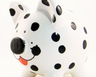 Dalmation Dog Piggy Bank - Personalized Piggy Bank - Puppy Piggy Bank - Fireman Dog Bank - Cute Animal Bank - with hole or  NO hole