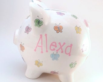 Pastel Butterfly Piggy Bank - Personalized Nature Piggy Bank - Pastel Butterfly Bank - Baby Girl Nursery Decor Bank - with hole or NO hole