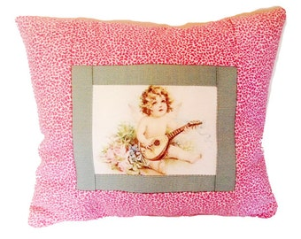 I Love You Postcard Pillow - Cupid with Lute