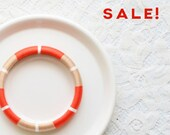 Tangerine. Beige. White. Tribal Colorblock Thread Bangle Bracelet - no. 510