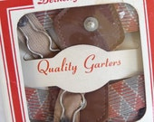 vintage Garters, New in Box, Berkeley Square, Quality Garters, Union Made, in USA, harlequin design, Argyle design, vintage accessory,unique