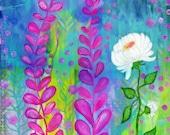 White Flower Painting, Teen Girls Room, Girl Nursery, Art Print, Colorful, Vibrant, Whimsical 8x10 Wall Art