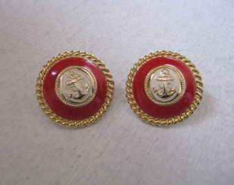 Round post back earrings with gold anchor & red enamel accents