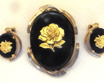 Black Onyx Gold tone Rose Pin Set - Vintage