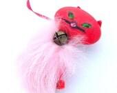 Cat Jewelry, Lipstick Red Retro Fabric Animal Jewelry, Pink Kitty Cat Brooch