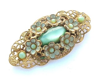 Romantic Vintage Mint Green Glass Faux Stone Ruffles Floral Lace Like Filigree Enamel Antique Jewelry C Clasp