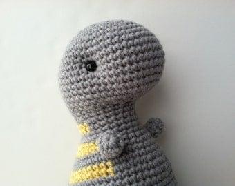Amigurumi Crochet Gray & Yellow T-Rex Plush Toy Stuffed Animal Dinosaur Plushie Dinosaur Kawaii Plush Dinosaur Yellow and Gray T-Rex Doll