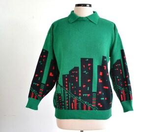 80s Vintage Cityscape Sweater City Skyline