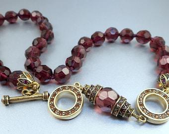 Heidi Daus Purple Bead Necklace Bracelet