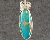 Turquoise pendant, long, pointed, sterling silver - P220
