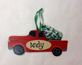 Red Truck   Personalized   Hand Painted Wood Ornament