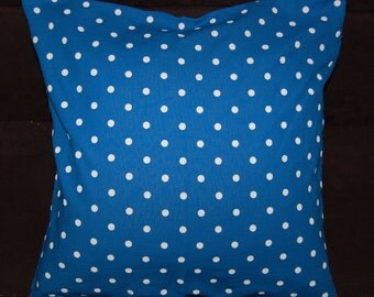 "FREE SHIP Blue polka dot pillow case, cushion cover , 16x16"", 40x40cm, from Finland, white dots"