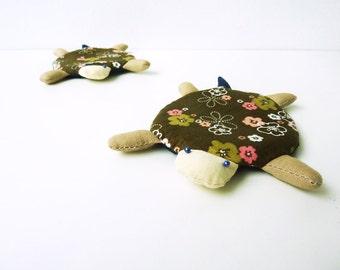 Coasters- Handmade Cute Turtle Fabric Coaster Set of 4- Cute Turtle - Home Decor- Turtle Decor