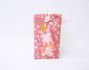 iPhone 4 Case, Fabric iPhone Case, Cute cat phone case, Cell phone case, iPhone 4 sleeve, Pink flower iPhone case - Gift for her