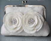 CLEARANCE Bridal Clutch, Purse, Bag, Wedding Merino/ Silk, Ivory, Two Roses, Crystal Rhinestones Jewels Brooch
