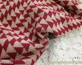 Traditional Triangle Pattern On Dark Red-Japanese Kimono Crepe Cotton Fabric (Fat Quarter)