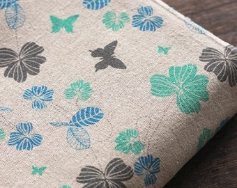 Love Of Nature, Chic Blue Mint Colorway Flower Floral Butterfly Garden-Linen Cotton Blended Fabric (Fat Quarter)