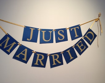 Just Married Wedding Banner - Navy and Gold