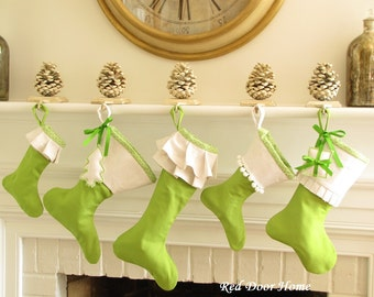 SALE Green White Christmas Stocking Set of 5 Ruffle Cuff  whimsical