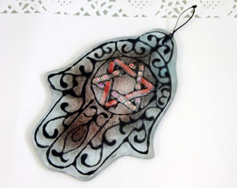 Jewish Judaica Home Blessing  Hamsa - Red and light blue Star of David  kabbalah Art - Fused Glass by virtulyglass