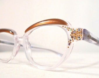 NOS Vintage Cat Eye Frame France SAlE Rhinestones /  Eyeglasses. Sunglasses
