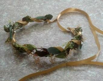 Set of 4 Leafy Flower Crown fall greenery vine Hair Wreath Bridal Goddess Headdress gold Bridesmaids halos autumn wedding accessories