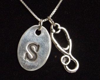 Personalized nurse necklace, Nurse stethoscope necklace, Gift for nurse, Stethoscope charm, Initial necklace, nurse graduation gift