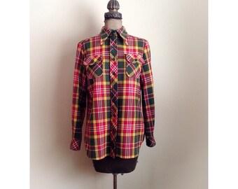 Vintage 1970s Bobbie Brooks Flannel Long Sleeve Shirt Jacket