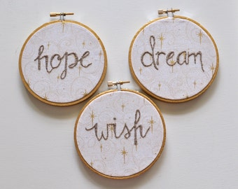 Hope Wish Dream. Gold Christmas Ornament Set - Winter Holiday Ornaments. Gift Under 50 for Her