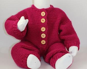 Instant Digital File PDF Download - Baby Aran Garter Stitch Onesie knitting pattern