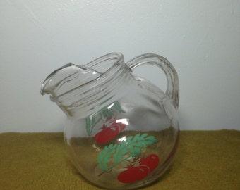 Vintage 50s Glass Serving Pitcher TOMATO Motif